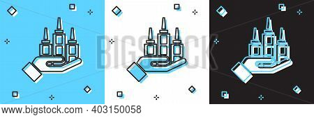 Set Skyscraper Icon Isolated On Blue And White, Black Background. Metropolis Architecture Panoramic