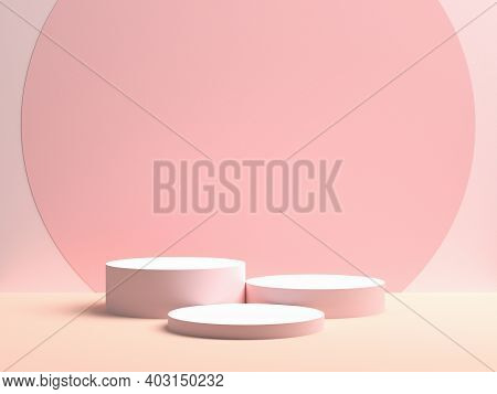 Pink Geometric 3d Product Display Background Concept, Abstract Podium Cylinder. 3d Rendering
