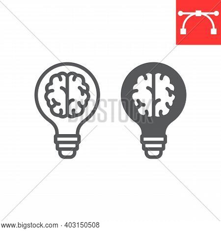 Creative Brain Line And Glyph Icon, Idea And Lightbulb, Creative Thinking Sign Vector Graphics, Edit