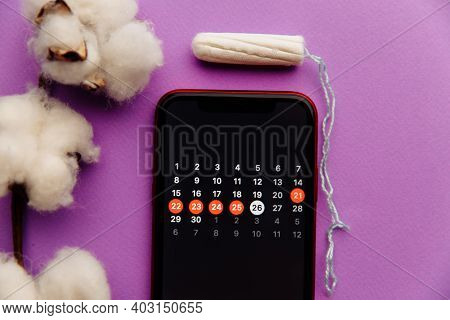 Menstruation Calendar In Smartphone With Cotton And Tampon. Woman Critical Days And Hygiene Protecti