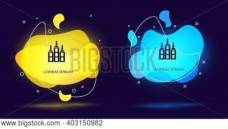 Black Skyscraper Icon Isolated On Black Background. Metropolis Architecture Panoramic Landscape. Abs