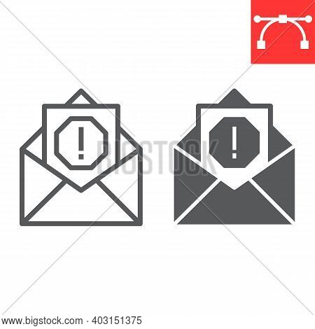 Email Virus Line And Glyph Icon, Security And Mail, Spam Sign Vector Graphics, Editable Stroke Linea