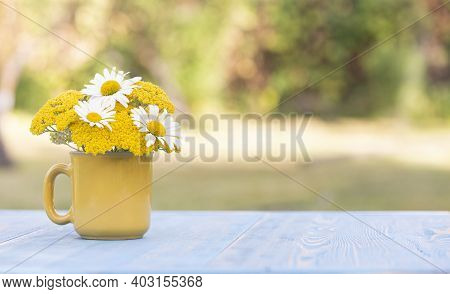 Chamomile Flowers In A Yellow Glass On A Table In The Garden. Free Space For Text On The Right. Summ