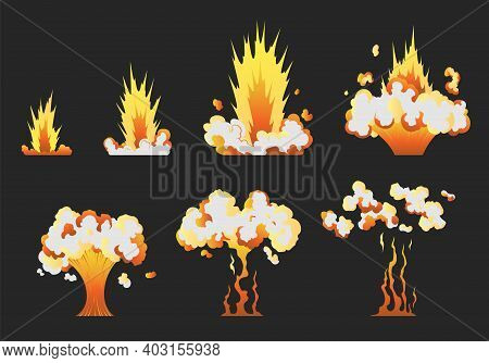Animation For Game Of The Explosion Effect In Separate Frames. Cartoon Animation For Game. Exploding
