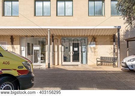 Campos, Spain; January 13 2021: Main Entrance Of The Hospital In The Majorcan Town Of Campos On A Su