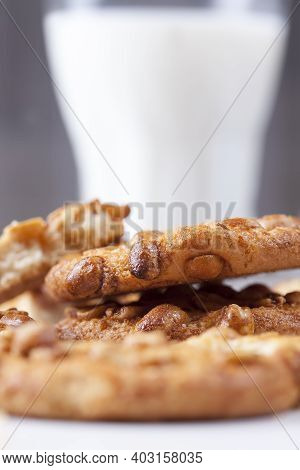 Fresh Crunchy Cookies Made From Wheat Flour And Roasted Peanuts, On The Surface Of A Round Cookie Ca