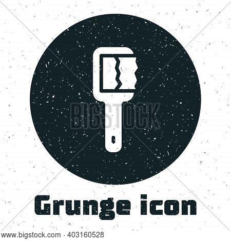 Grunge Sauna Brush Icon Isolated On White Background. Wooden Brush With Coarse Bristles For Washing