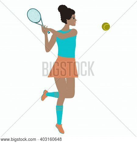 Tennis - African Girl With A Racket - Vector. Active Lifestyle.