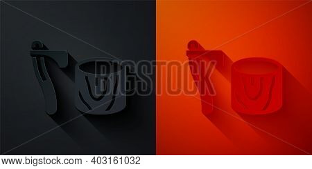Paper Cut Wooden Axe In Stump Icon Isolated On Black And Red Background. Lumberjack Axe. Axe Stuck I