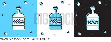 Set Tequila Bottle Icon Isolated On Blue And White, Black Background. Mexican Alcohol Drink. Vector