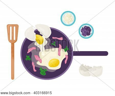 Morning Breakfast Fried Egg With Pork Bacon, Kitchen Utensils Pan, Wooden Spatula For Foodstuff Flat
