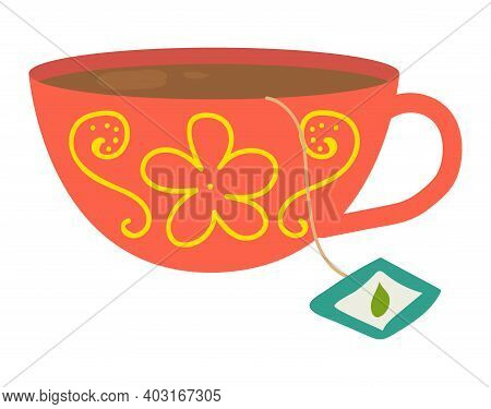 Cup Sheet Tea Icon With Delicious England Drink, Mug Bag Label, Concept Flat Vector Illustration, Is