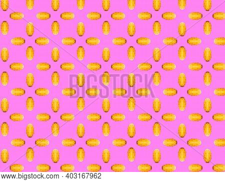 Opuntia Fruit Pattern On Vibrant Lilla Color Background. Minimal Flat Lay Food Texture