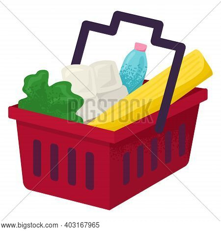 Market Foodstuff Basket With Egg Pack, Water Bottle, Organic Green Salad And Bread Loaf Cartoon Vect