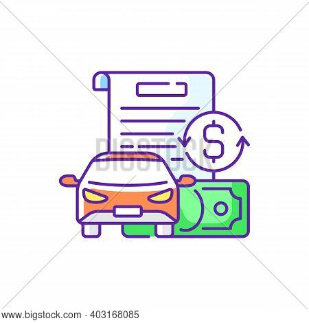 Vehicle Title Loan Rgb Color Icon. Placing Lien On Car Title. Borrowers Outstanding Debt Repayment.