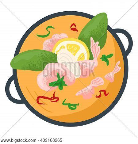 Bowl Orange Broth With Green Leaf, Lemon Slice And Pink Shrimp, Concept Restaurant Foodstuff Flat Ve