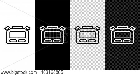 Set Line Stopwatch Icon Isolated On Black And White, Transparent Background. Time Timer Sign. Chrono