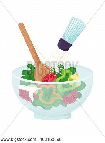 Healthy Vegetarian Bowl Vegetable, Organic Farm Growing Tomato, Green Salad Leaf And Sweet Paprika F