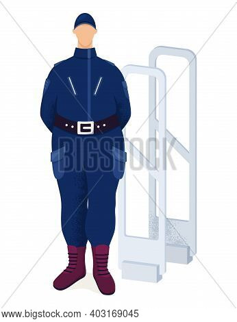 Government Employee Male Policeman Guard Entrance, Security Character Standing Frame Metal Detector