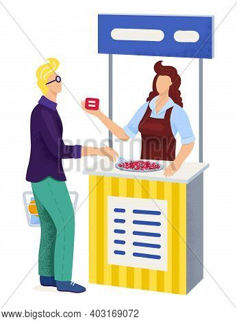 Male Buyer Character Hold Food Basket In Supermarket Talk With Female Seller Promo Action Cartoon Ve