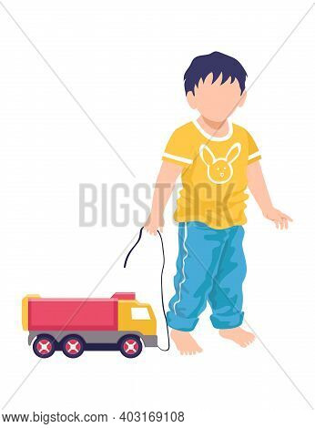Little Cheerful Boy Standing Hold Leash Truck Toy, Children Kid Play Lorry Plaything Cartoon Vector