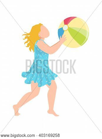 Teenager Cheerful Girl Kid Play With Beach Ball, Tropical Cheerfully Spend Time, Children Wear Swimm