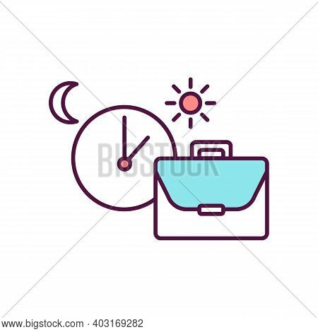 Work Schedule Rgb Color Icon. Week Clock Hours On Corporate Job. Office Occupation. Employee Agenda.