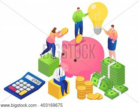 People Together Cash Management, Character Male Female Hold Coin Dollar, Banking Business Isometric