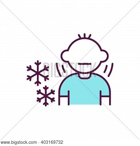 Child In Inappropriate Clothes For Winter Rgb Color Icon. Cold Weather. Young Boy Shivering. Low Tem