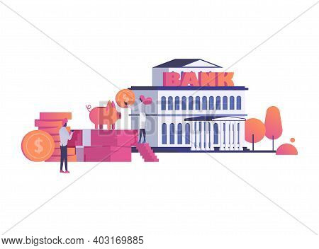 Concept Modern Bank Building Financial Institution, Woman Character Save Money In Piggy Bank 3d Isom