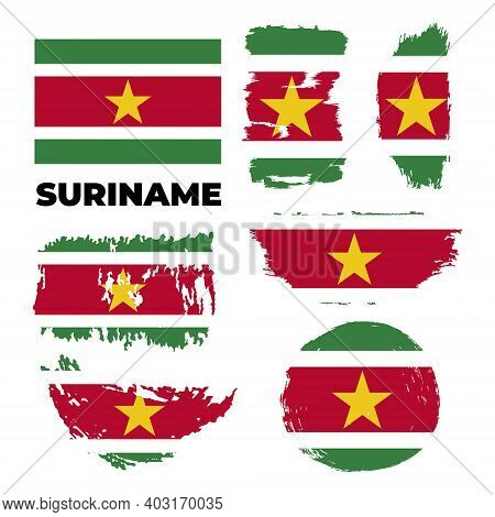 Brush Painted Grunge Flag Of Suriname Country. Independence Day Of Suriname.