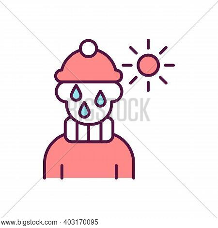 Child In Inappropriate Clothes Rgb Color Icon. Kid Hot In Clothing. Parental Neglect Sign. Children