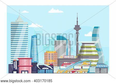 Concept Modern Futuristic Urban Landscape, City Bannerview, Big Megapolis Town Flat Vector Illustrat