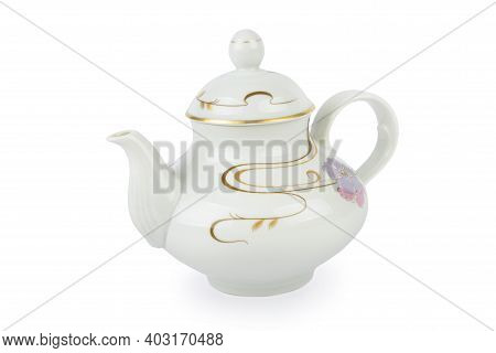 Ceramic Teapot With Ornament In Classic Style Isolated On White Background. Retro Tea Pot.