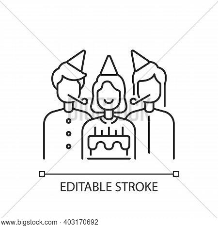 Birthday Party Linear Icon. Surprise Celebration For Children. Special Occasion For Anniversary. Thi