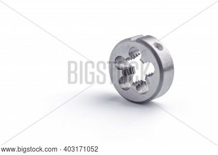 Old Used Kit For Cutting An External Thread Isolated On White Background. Tap And Dies Spiral Flute.