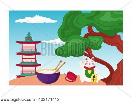 Feng Shui Cat Waving Paw, Chinese Building Tower With Rice Bowl, Asian Urban Landscape, Cozy Home Ar