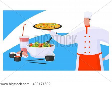 Chef Hold Pizza, Concept Oriental And Italian Foodstuff, Cookery Expert Prepare Greek Salad, Sushi F