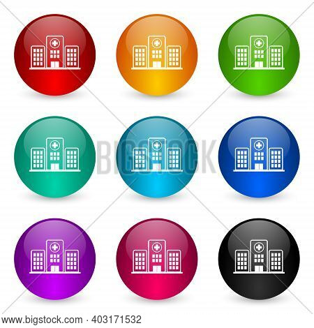 Hospital Building Icon Set, Colorful Glossy 3d Rendering Ball Buttons In 9 Color Options For Webdesi
