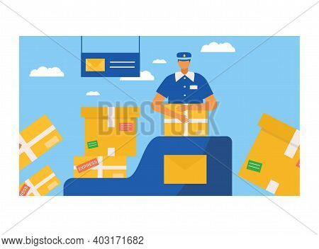Postman Character Packaging Postal Parcel, Professional Mailman Incase Pasteboard Box Flat Vector Il