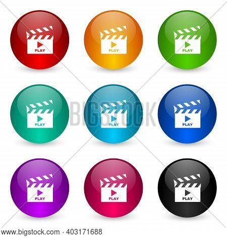 Video Icon Set, Colorful Glossy 3d Rendering Ball Buttons In 9 Color Options For Webdesign And Mobil