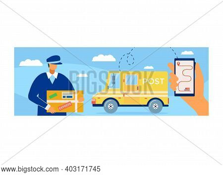 Online Tracking Postal Parcel, Postman Character Express Delivery, Mailman Carry Important Package F