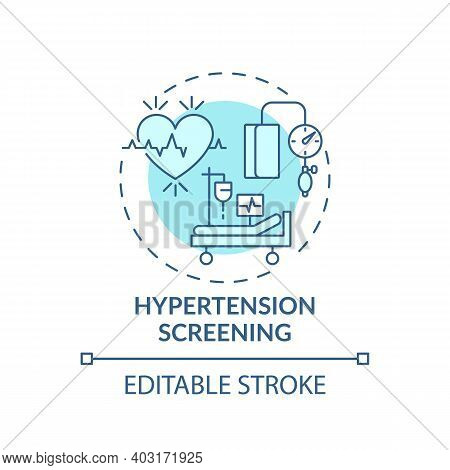 Hypertension Screening Concept Icon. Risk For High Blood Pressure Idea Thin Line Illustration. Elect