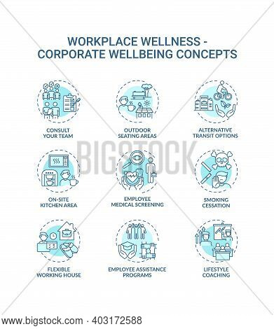 Workplace Wellness Concept Icons Set. Corporate Wellbeing Idea Thin Line Rgb Color Illustrations. Fl