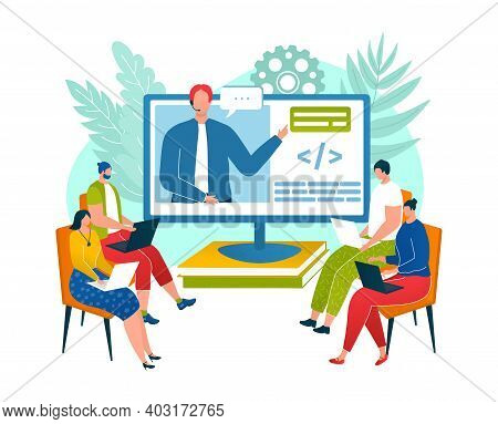 Coworking Area Space, Character Male Female Programmer Sitting Professional Development Workshop Car