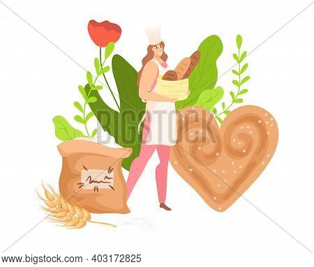 Woman Baker Hold Package Loaf Product, Bakery Chef Work With Flour Confectionery Food Flat Vector Il