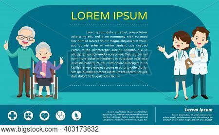 Doctor For Elderly Wheelchair Patients Banner Concept ,doctor And Elderly Healthcare Background Post