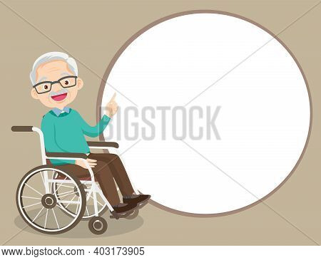Elderly Man On Wheelchair Pointing Finger Up, Isolated On White Background,old Man Finger Pointing W