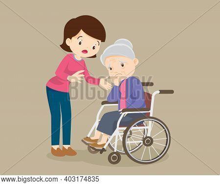 Elderly Are Sad ,woman Consoling,sad Elderly Woman Bored,daughter Consoling Senior Woman Sitting Alo
