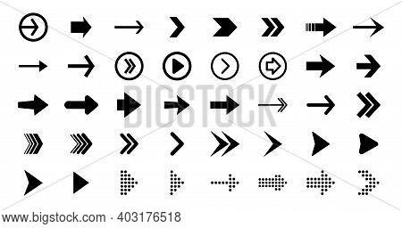 Set Black Arrows For Web Design. Arrows Vector Icon. Arrow Icon. Set Of Big Black Vector Arrows. Cur